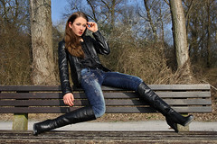 Tatjana 28 (The Booted Cat) Tags: sexy cute teen girl model tight blue jeans demin heels highheels boots leather jacket