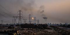 Black gold (\Nicolas/) Tags: oil field petrol fire factory derrick pipeline iran irak fog cloud