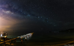 Old bridge with Milky Way (Marcus Lim @ WK) Tags: panorama milkyway star night starry seaside sea bridge