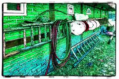 the farmhouse (j.p.yef) Tags: peterfey jpyef yef wall ladders bowls hoses manipulated digitalart country germany hamburg green museumsdorf volksdorf farm farmhouse photomanipulation