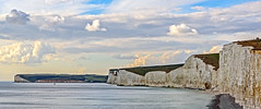 Birling Gap and the Seven Sisters Chalk Cliffs (Brett of Binnshire) Tags: shoreline england water mountains highdynamicrange weather clouds hdr beach lrhdr locationrecorded cliff manipulations scenic lightroomhdr eastsussex ocean geologicsite birlinggap 2391 mountain sunset