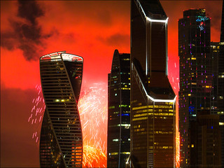 Russia. Moscow. Moscow City and fireworks on 9 May.