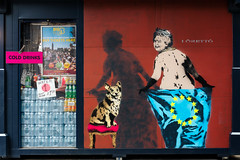 Cold Drinks (stevedexteruk) Tags: london uk city westminster street art graffiti mural loretto eu european union brexit queen corgi dog flag 2017 drinks kiosk