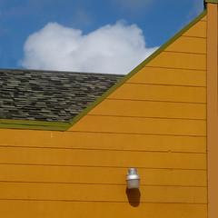 sliding by (msdonnalee) Tags: roof diagonal oblique shingles cloud sky lightfixture gold