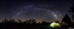 Panoramic view of Milky Way Arc (jothish_gr) Tags: panorama arc milkyway tent night dark light green white park copperbreaks quanah galaxy astrophotography nightphotogrpahy nightscape nikon nikond750 longexposure sky blue trees camping