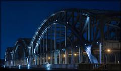 Freihafen Elbbrücke (PhotoChampions) Tags: brigde brücke elbe river fluss nightshot longtime architecture architektur lichter lights steel stahl nacht night germany deutschland blue blau yellow gelb