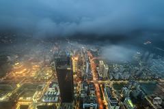 Foggy Taipei II (kenneth chin) Tags: fog lenskirt taiwan cityscape tapei101observationdeck cloud city taipei google yahoo nikkor1424f28g d810 nikon