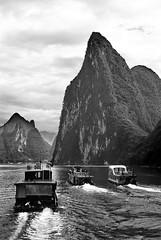 Tour Boat Race, River Li, China (nelhiebelv) Tags: tourboats race li river china