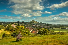 The hills of Avalon (Anthony P26) Tags: category england glastonbury glastonburytor landscape places somerset travel wirralhill uk unitedkingdom greatbritain britain british hill grass town slopes sky bluesky whiteclouds clouds landscapephotography travelphotography houses buildings structure church tower tor ruin tree thorn canon70d canon1585mm canon outdoor