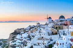 Oia, Santorini - Greece (Stavros A.) Tags: santorini oia greece island aegean aegeanisland cyclades windmill traditional buildings architecture sunset landscape seascape sea hill white whitehouse nikond750 nikon24120f4 europe σαντορινη ελλαδα κυκλαδεσ οια goldenhour bluehour travel tourism vacation sky