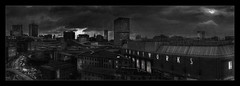 Hello Darkness (Kev Walker ¦ From Manchester) Tags: architecture building canon1100d canon1855mm citycentre england hdr lancashire manchester northwest outdoor photoborder panorama panoramic postprocessing landscape blackwhite moon clouds