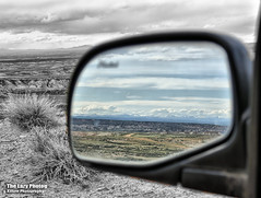April 23 2017 - Who says you can't look back (La_Z_Photog) Tags: lazy photog elliott photography wyoming worland big horn basin badlands rear view mirror reflection selective color 042317badlands
