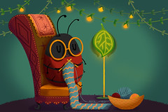 Creative Illustration and Innovative Art: Mrs Bee is Knitting a sweater Happily in Her Fantastic House. Realistic Fantastic Cartoon Style Artwork Scene, Wallpaper, Story Background, Card Design (wallmistwallpaper) Tags: animal art artwork background ball bee book card cartoon chair child clip collage concept creative design drawing fairy fantastic fantasy fine game happy home house illustration imaginary imagination inside interior kid knit lamp light nature needle paint plant postcard room scene sticker story sweater tale tree wallpaper wish world yarn