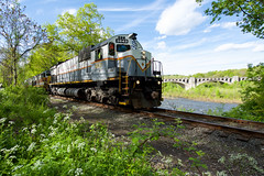 Go to the Gap (ajketh) Tags: dl delaware lackawanna water gap mlw m636 rare river freight pt98 alco nj new jersey ns norfolk southern h75 spring flowing fresh green plants nature c424 c636 c630m 3643