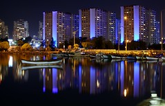 Mavisehir, at night. (shutterbug_65-) Tags: bostanli night water canon 5d izmir turkey reflections blue