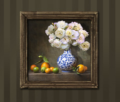 Roses & Citrus (John Jardin) Tags: beautiful blue china chineseculture citrusfruit composition decoration design food fruit green leaf lime mandarinorange old oldfashioned orange pattern stilllife stone table tangerine vase white stylization floral flowers roses wood frame