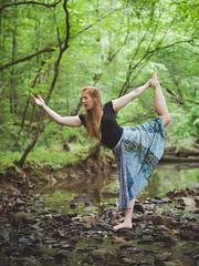 Forest yoga (Vincent F Tsai) Tags: yoga yogi nature forest natural woods stream water river bed peace peaceful skirt redhead portrait fit fitness stretch flex girl bare foot bokeh dof panasonic lumixgx8 leicadgnocticron425mmf12