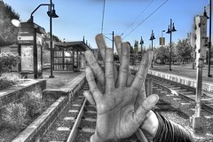 What The Driver Saw (swong95765) Tags: railroad tracks hand station situation humor