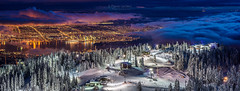 Vancouver City Winter Twilight (PIERRE LECLERC PHOTO) Tags: vancouver city grousemountain panorama landscape britishcolumbia skiresort night twilight mountain skiing snowboarding clouds above elevation high canada citylights favourite bestlandscape amazinglandscapes photography urban mountains northshoremountains vancity vancouvercity wallart grouse abovetheclouds bc snow winter seasons summit pierreleclercphotography adventure