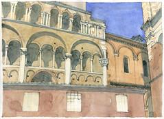 Ferrare 2017 (gerard michel) Tags: italia italy ferrara cathédrale duomo croquis sketch architecture aquarelle watercolour roman