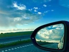 #Denmark #Europe #clouds #car #rearviewmirror #sky