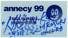 Hiroyuki Okiura signed stub (Arne Kuilman) Tags: hiroyukiokiura ghostintheshell anime signed signature stub ticket japan japanese movie animated otaku annecyinternationalanimatedfilmfestival annecy 1999