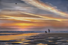 Encuentros Cercanos - Close  encounters. (frankolayag) Tags: eos frankolaya cadiz andalucia españa colores mar sonyalpha atardecer ocaso fotógrafo modelo nubes costa reflejos reflexiones reflejosdeluz playa horadorada seascape oceano cielo agua puestadesol dorado siluetas