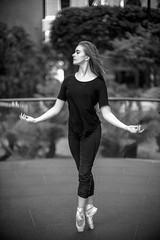Ballet in the open air (David A. Barnes) Tags: leica leicam leicablackandwhite leicammonochromtyp246 noctiluxm blackandwhite blancoynegro noiretblanc schwarzundweis biancoenero dancer ballet balletdancer pointeshoe woman sanfrancisco street noctiluxmasph bokeh