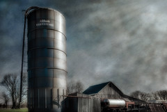 February & Silo (David DeCamp) Tags: silo industry agriculture barn farm old rural rustic sky dark building texture nikond300 tamronadaptall17mmf35