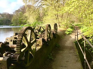 River Don path at Woodside entrance with the old Mill sluice machinery  still on display .