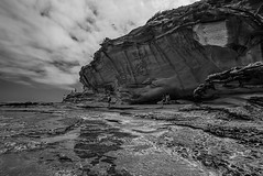 DSC00099 (Damir Govorcin Photography) Tags: cliff face bare island la perouse sydney rock water sky clouds zeiss 1635mm sony a7rii wide angle natural light people blackwhite monochrome landscape