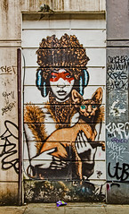 masked cat lady (PDKImages) Tags: londonstreetart london shoreditch shoreditchstreetart graffiti art wallart contrasts streetscenes urbanart colours