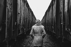 (Saša Lalić) Tags: winter fog train wagon car railroad railway sombor station katja serbia noir black white ea misty mistiq walk back look from between