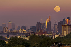 Moon Above The Golden City (JH Images.co.uk) Tags: moon rise hdr dri london primerose hill city skyline skyscrapers sunset canarywharf cityscape pink red park moonrise