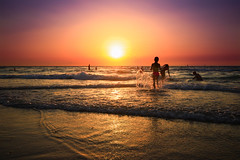 Bathing in The sea at sunset - Tel-Aviv (Lior. L) Tags: bathingintheseaatsunsettelavivbeach bathing sea sunset telaviv silhouettes reflection seascapes people nature sky travel travelinisrael israel telavivbeach