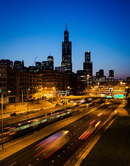 Blue Hour on the Blue Line (Carl's Captures) Tags: chicagoillinois cityofchicago nearwestside cityscape skyline bluehour longexposure morning dawn urban transportation traffic i290 eisenhowerexpressway interstatehighway lighttrails cookcounty ctablueline chicagotransportationauthority masstransit publictransportation architecture searstower willistower landscape twilight motion bridges buildings skyscrapers thel ltrain theike expressway freeway 4secondexposure nikond5100 tamron18270 lightroom5 photoshopbyfehlfarben signremovalbyfehlfarben roadreconstruction speedlimit whatspeedlimit thanksbine 311southwackerdrive downtown thewindycity chitown may spring
