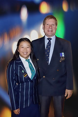 Off to the ANZAC Dawn Service (XPinger (Chris Sutton)) Tags: hannah chris uniform medals anzacday dawnservice school prefect topazremask