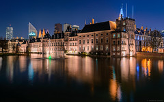The Binnenhof in The Hague (szenasia) Tags: lake spring water reflection night europe architecture building city center holland pond long exposure multiple gothic dutch parliament heritage blue hour the hague netherlands den haag binnenhof hofvijver mauritshuis states general