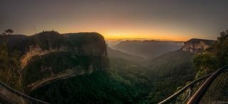 sunrise at govetts leap. NSW