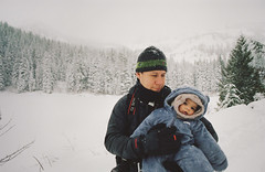 henry through the seasons: winter (manyfires) Tags: film analog henry boy toddler baby son love family child portrait peoplescape nikonf100 35mm pnw pacificnorthwest oregon michael father winter snow mthood mirrorlake forest trees mountain outdoors landscape