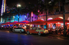 South Beach revisited (Мaistora) Tags: street boulevard drive road hotel restaurant bar cafe club night evening lights color colour reflections neon artdeco design architecture historic culture movies cars classic vintage retro style stylish blue red purple pink orange green palms trees palmtree tropic tropical warm hot ocean humid relax leisure leisurely cool chill chillout drinks chat hangout miami florida beach south southbeach oceandrive district cinematic usa us america sony nex nex3 sel1855 kit lens dxo optics lightroom