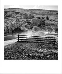 Wind Trail (Missy Jussy) Tags: wind grass fence vehicle pumphouse scenery trees hillside sky piethornevalley reservoir path sheep fields rochdale ogden landscape lancashire mono monochrome bw blackwhite blackandwhite canon 50mm primelens