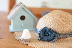 Off for some time (eleni m (busy remodeling house and garden)) Tags: sunhat birdie dresser mirror birdhouse indoor corsage fabric flower scarf dof off figurine pinewood