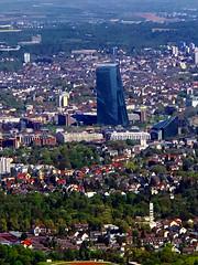 ECB - towering over Frankfurt Eastend (david_m.hn) Tags: frankfurt skyline urban landscape buildings hochhaus hessen hesse germany deutschland luftaufnahme aerialpicture ezb europäischezentralbank ecb europeancentralbank