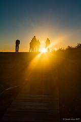Sunrise at Munro Hut (NettyA) Tags: 2017 3capestrack australia sonya7r tasmannationalpark tasmanpeninsula tasmania tassie threecapestrack bushwalking hike hiking sunrise munrohut day3 sunburst sunrays people silhouette path