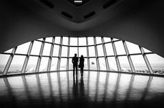 inside The mother ship (R*Wozniak) Tags: blackwhite bw blackandwhite black milwaukee milwaukeeartmuseum silhouette nikon nikond750 35mm