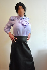 Lilac blouse with detachable jabot and long black leather skirt. Breasts are 6000g/pair. (brigitta.cd) Tags: jabot crossdresser breastforms leather skirt