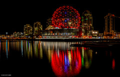 Science World @ Telus World of Science (SonjaPetersonPh♡tography) Tags: vancouver britishcolumbia canada falsecreek scienceworld scienceworldattelusworldofscience telusworldofscience downtownvancouver lights citylights nikond5200 nikon reflections nightphotography nightscenes nightsky expocentre buildings cityscape city