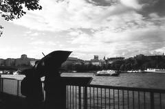 Umbrella, Southbank (MCorrigan1983) Tags: 135 2016 400tx bw london nikkor35mmf2d nikonf6 trix400 umbrella rain film 35mmfilm 35mm kodak trix kodaktrix400 southbank