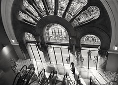 Stained glass windows of QVB (missgeok) Tags: blackandwhite bnw qvb queenvictoriabuilding sydney australia victorian architecture grand 1898 georgemcrae favourite monochrome lighting angle composition lightandshadows stainedglasswindows amazing
